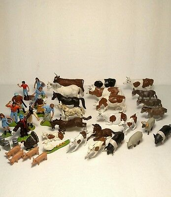 Vintage 1970s Britains Ltd Plastic Toy Animal People Lot Bulls Cows Pigs