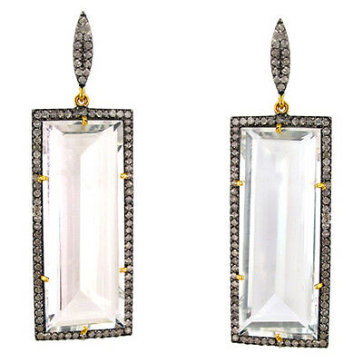 2.6ct Diamond Pave Dangle Earrings 14k Gold Clear Quartz Sterling Silver Jewelry