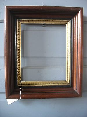 "Antique Walnut shadow box Frame with gild gold liner 12 "" by 14"""