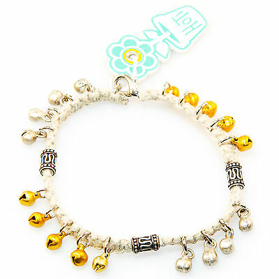HOTI Hemp Handmade Silver Yellow Gold Bells Bail Beads Anklet Ankle Bracelet NWT