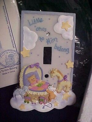 Dicksons Resin Switch Plate~LITTLE ONES TO HIM BELONG~Train Up A Child 4 x 5 1/2