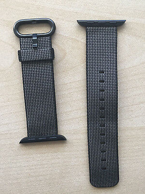 Official Apple Watch 38mm Black Woven Nylon Band/Strap - New