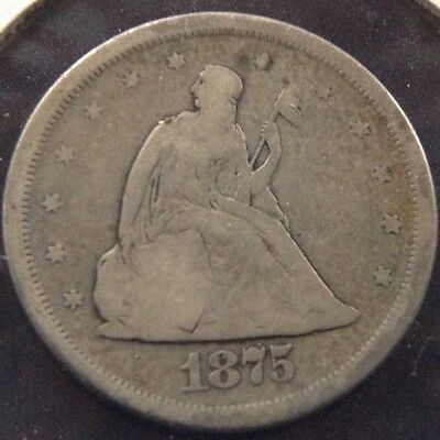 1875-S 20C Seated Liberty Twenty Cent Piece Type Coin Circulated Very Good VG+