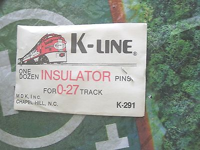 K-Line Train Track  Insulator Pins One Dozen For  0-27 Track  K-291 Nos ..    O