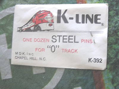"K-Line Train Track  Steel Pins One Dozen For  ""o"" Track //   K-392 Nos     0"