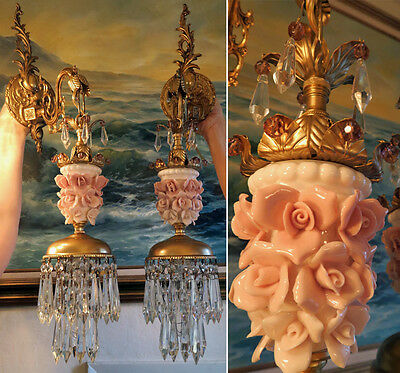 PAIR Sconce lamp Brass bronze Pink Rose vintage Porcelain purple bead Rococo OMG