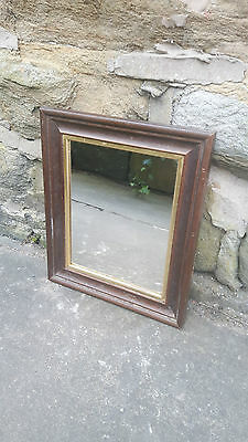 Small Vintage Antique Retro French Wall Hanging Mirror Dark Wood & Gold Framed