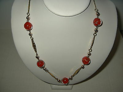 Vintage Estate Goldtone Red & Gold Dust Venetian Czech Glass Bead Necklace
