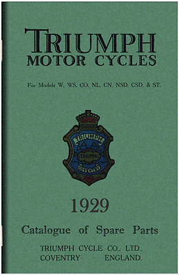 1929 Triumph W WS CO NL CN NSD CSD ST parts book Included