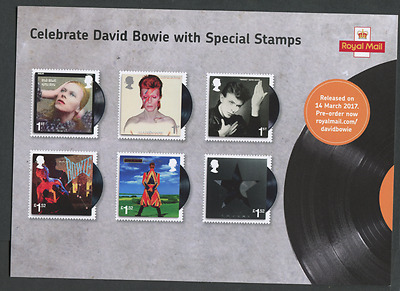 DAVID BOWIE ROYAL MAIL STAMP ISSUE A5 FLYER  CARD Mint perfect condition