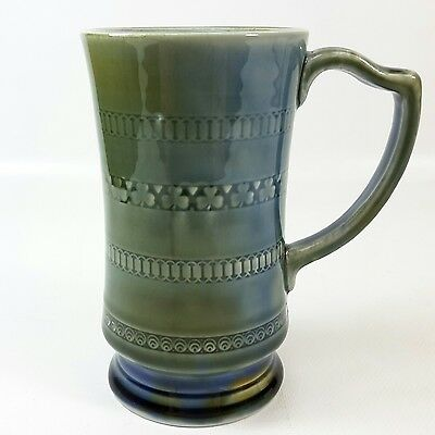 Wade Irish Porcelain Shamrock Mug 8 oz 5.25 in Green Blue Glaze Ireland Coffee