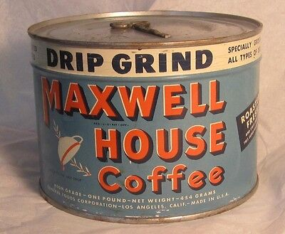 Vintage Key Wind Open MAXWELL HOUSE Coffee Tin Full Unopened 1 Lb. Can Sealed