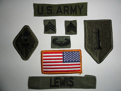 US ARMY 8x SERGEANT BIG RED ONE 1st ID PATCH KONVOLUT BDU SET KOMPLETT UNIFORM