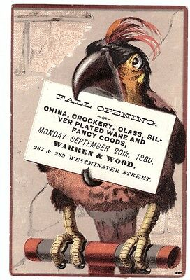 1880 Trade Card Warren & Wood China Crochery Parrot Bird Theme