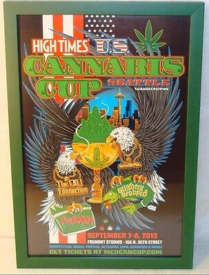 """1St """"recreational"""" Seattle Cannabis Cup High Times Mini Ad Poster Pro-Frame"""