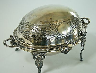 Antique English 19th Century Silver Plate revolving dome rotating cover server