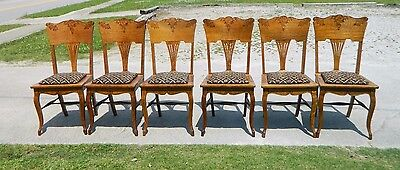 Tiger Oak Fancy Press Back Dining Chairs~~set of 6