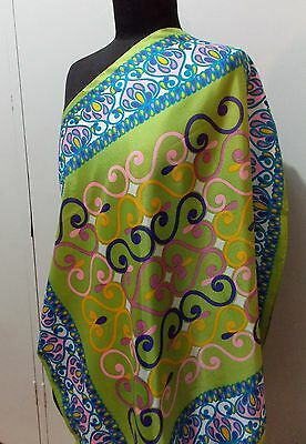 Vintage 1960s Lime Green Japanese Acetate Women's 70cm Square Scarf