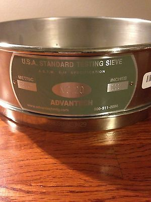 US Standard ASTM E11 No. 20 Testing Sieve Screen WS Tyler 8 Inch Stainless Steel