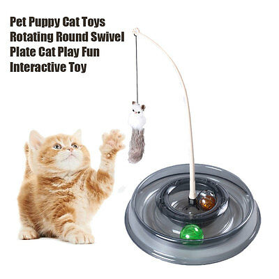 Pet Puppy Cat Toys Round Swivel Plate Cat Play Fun Interactive Toy AU