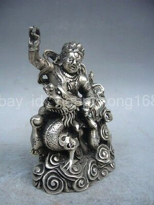 Decorative old Tibet handmade silver dragon statue exorcism to ward off bad luck
