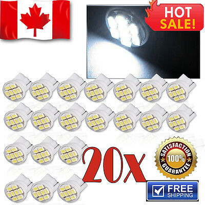 20 x White T10 Wedge 8 SMD LED Bulbs Car Dome Map Interior Light W5W 194 168 12V