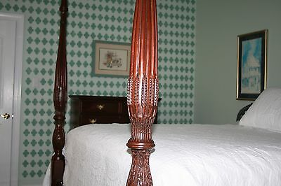 Craftique mahogany wheat carved bed four post queen size