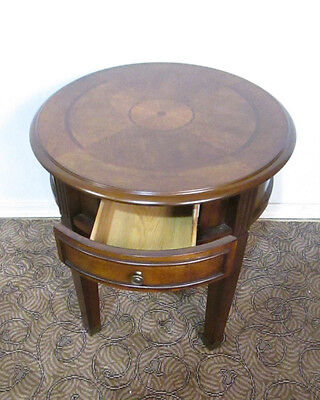 58194 Round Cherry Inlaid End Table With Drawer