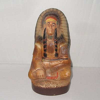 Vintage Collectable Jim Beam Bourbon Whiskey Indian Chief Head Decanter Bottle