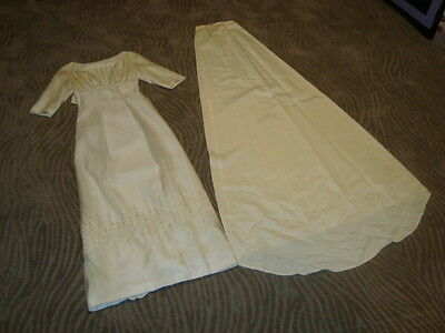 Vintage California Designer Emma Domb Dress Wedding Lace Floral White Gown Train