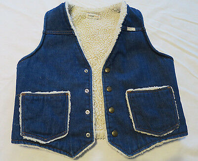 Vintage Blue Jean Denim Sherpa Warm Vest Youth Lg 20 Do Nothing  Sedgefield USA