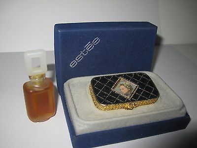 Vintage Estee Lauder Super Solid Perfume Compact Full, Frosted Botlle Full. Lot