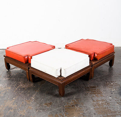 Mid Century Modern Stool Set 3 Stacking Nesting Foot Stool Ottoman Vintage Wood