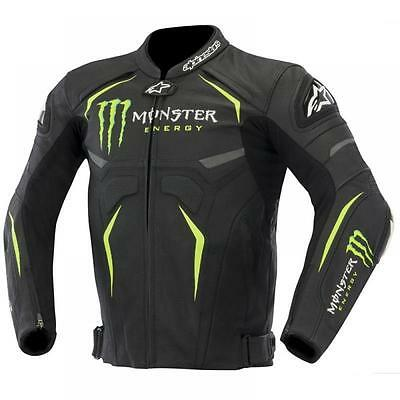 Mew Men/women Monster Energy Leather Motorcycle Motorbike Sports Jacket Moto Gp