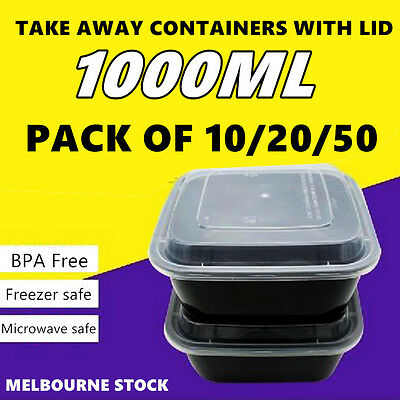 PK50 Lids Plastic Food Container Storage Lunch Takeaway Take Away Microwave Box