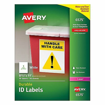 """Avery Permanent White Durable I.D. Labels for Laser Printers, 8-1/2"""" x 11"""", 6575"""