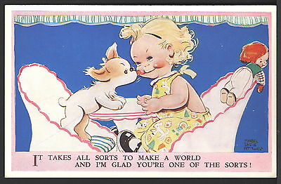 Mabel Lucie Attwell 1939 Valentine's Postcard #4591 Puppy Dog licks Girl's Face