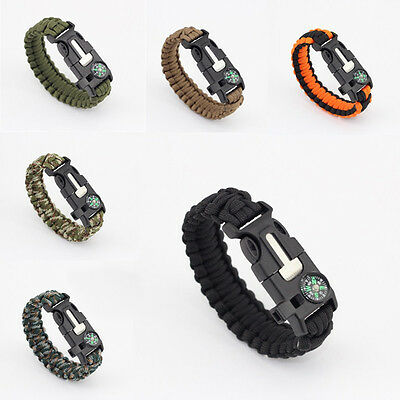 Paracord Survival Bracelet Compass Flint Fire Starter Whistle Camping Gear huq
