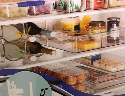 2 x Clear Acrylic Fridge & Pantry Food Wine Storage Container Stackable  New