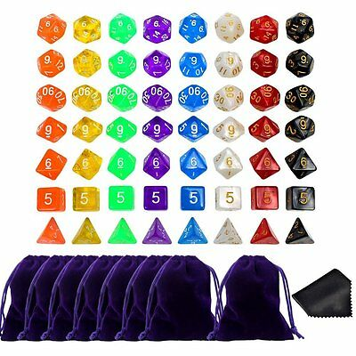 56pcs 8 Sets Dice Dungeons And Dragons DND RPG MTG D4 D6 D8 D10 D12 D20 Games AU