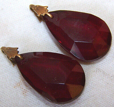 2 PIECES OF VINTAGE CZECH faceted GARNET RED glass drops with settings