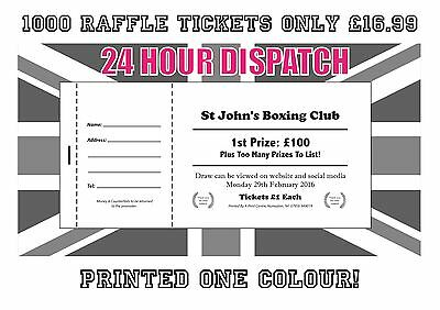 1000 PRINTED PERSONALISED RAFFLE PRIZE DRAW TICKETS single colour