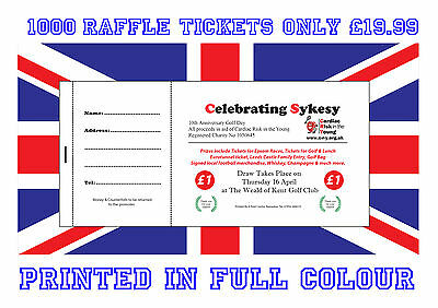 1000 Printed Personalised Raffle Prize Draw Tickets - Charity