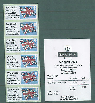 GB Singapore 2015 Union Flag Post and Go Strip of 6 with SG prefix and receipt