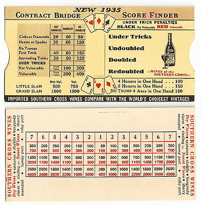 1935 Mechanical Contract Bridge Score Finder, Southern Cross Wines, Australia