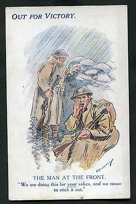C1918 WWI: Illustrated Card: Out For Victory: The Man at the Front
