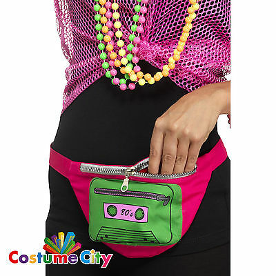 Adults 1980s Bum Bag Fanny Pack 80s Retro Neon Fancy Dress Party Accessory