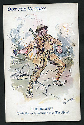 C1918 WWI: Illustrated Card: Out For Victory: The Bomber