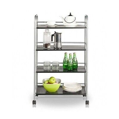 Food Service Cart 4 Tier Kitchen Island Serving Catering Stainless Steel Trolley