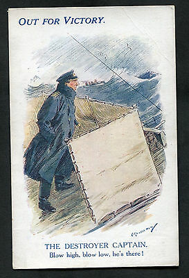 C1918 WWI: Illustrated Card: Out For Victory: The Destroyer Captain